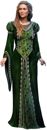 Princess in green dress 3D illustration
