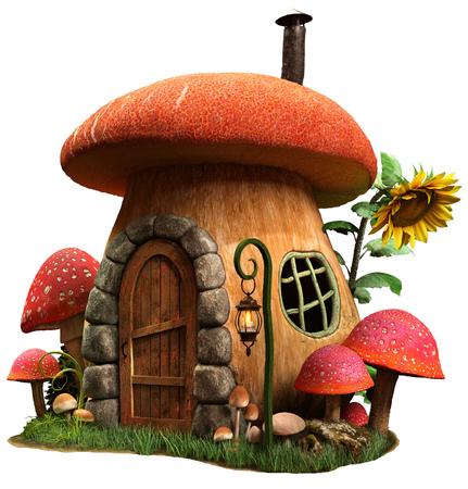 Mushroom house and sunflower 3D illustration