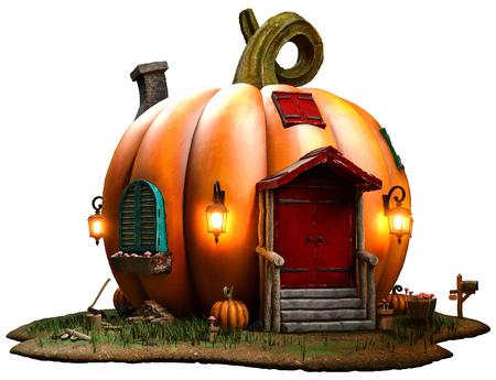 Fantasy pumpkin house 3D illustration