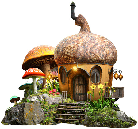Acorn house and mushrooms 3D illustration