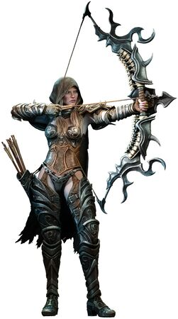 Fantasy archer aiming bow 3D illustration 写真素材