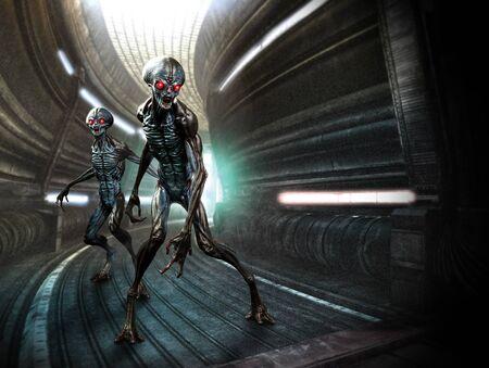 Grey aliens scene 3D illustration