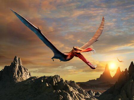 Prehistoric Anhanguera scene 3D illustration