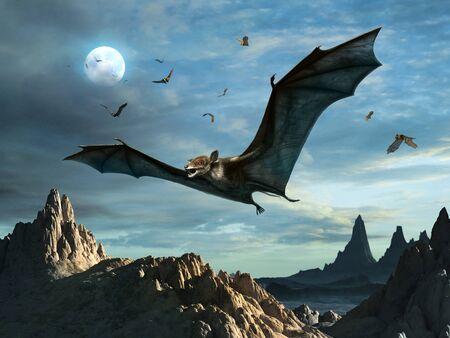 Prehistoric Icaronycteris scene 3D illustration
