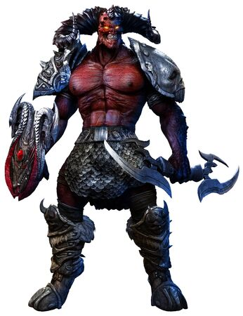 Large fantasy demon 3D illustration