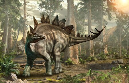 Stegosaurus forest scene 3D illustration Stock Photo