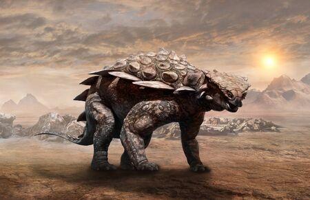 Gargoyleosaurus dinosaur scene 3D illustration