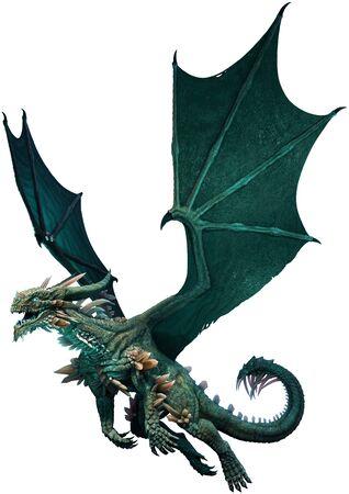 Sea green dragon 3D illustration