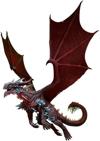 Red and Mauve dragon 3D illustration