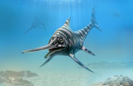 Eurhinosaurus from the Jurassic era 3D illustration Banco de Imagens