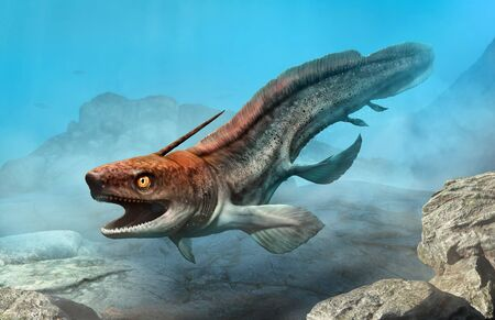 Xenacanthus from the Triassic era 3D illustration