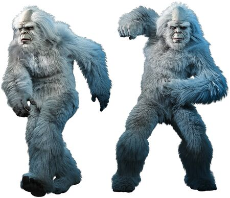 Yeti or abominable snowman 3D illustration Banco de Imagens