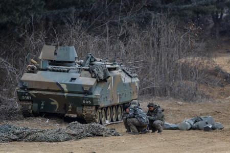 k9: South Korea K-9 Tanks and K200 Vehicles standby for live fire at drill range in Paju, South Korea.