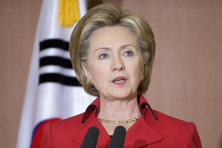 Hillary Clinton spreekt tijdens een KOR US gezamenlijke persconferentie in MOFA Seoul Zuid-Korea