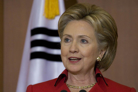 Hillary Clinton speak during an KOR US joint press conference in MOFA Seoul South Korea