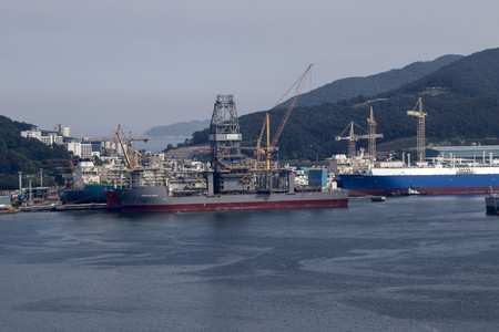 shipbuilding: Ships under construction sit moored at the DSME shipyard in Geoje, South Korea. Shipbuilding has been central to South Koreas economy since the 1970s. Editorial