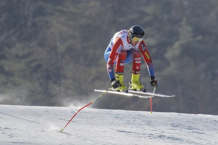 bennett: Bennett Bryce of USA action on the slope during an AUDI Ski World Cup 201615 Exercise Day First at the Jeongsun Alphine Center in Jeongsun, South Korea.