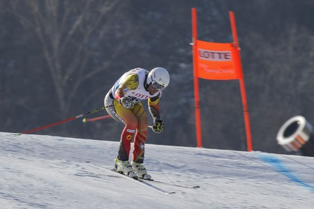 jeffrey: Frisch Jeffrey of CAN action on the slope during an AUDI Ski World Cup 201615 Exercise Day First at the Jeongsun Alphine Center in Jeongsun, South Korea.