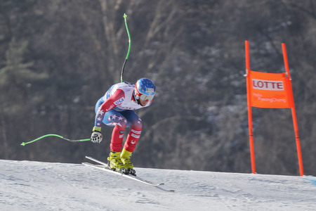 steven: Nyman Steven of USA action on the slope during an AUDI Ski World Cup 201615 Exercise Day First at the Jeongsun Alphine Center in Jeongsun, South Korea.