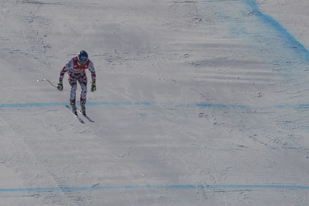 olympic sports: Baumann Romed of AUT action during an AUDI FIS Ski World Cup Mens Downhill Final Race, Also a test event for the Pyeongchang 2018 Winter Olympics, at the Jeongseon Alpine Centre in Jeongseon, South Korea. Editorial