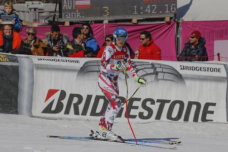 deportes olimpicos: Baumann Romed de acción AUT durante una carrera de final de Audi FIS del mundo de esquí de los hombres de la Copa de descenso, también un evento de prueba para los Juegos Olímpicos de Invierno de 2018 en Pyeongchang, en el centro alpino en Jeongseon Jeongseon, Corea del Sur.