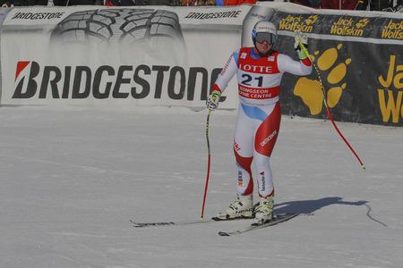 deportes olimpicos: Feuz golpe de acción IUE durante una carrera de final de Audi FIS del mundo de esquí de los hombres de la Copa de descenso, también un evento de prueba para los Juegos Olímpicos de Invierno de 2018 en Pyeongchang, en el centro alpino en Jeongseon Jeongseon, Corea del Sur.