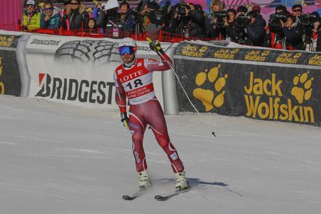 deportes olimpicos: Jandrud Kjetil de NI acción durante una carrera de final de Audi FIS del mundo de esquí de los hombres de la Copa de descenso, también un evento de prueba para los Juegos Olímpicos de Invierno de 2018 en Pyeongchang, en el centro alpino en Jeongseon Jeongseon, Corea del Sur.