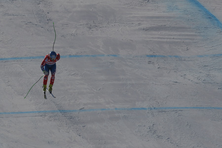 fis: Nyman Steven of USA action during an AUDI FIS Ski World Cup Mens Downhill Final Race, Also a test event for the Pyeongchang 2018 Winter Olympics, at the Jeongseon Alpine Centre in Jeongseon, South Korea. Editorial