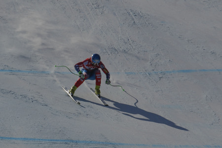 downhill: Nyman Steven of USA action during an AUDI FIS Ski World Cup Mens Downhill Final Race, Also a test event for the Pyeongchang 2018 Winter Olympics, at the Jeongseon Alpine Centre in Jeongseon, South Korea. Editorial