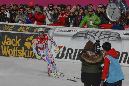 olympic sports: Theaux Adrien of FRA action during an AUDI FIS Ski World Cup Mens Downhill Final Race, Also a test event for the Pyeongchang 2018 Winter Olympics, at the Jeongseon Alpine Centre in Jeongseon, South Korea.