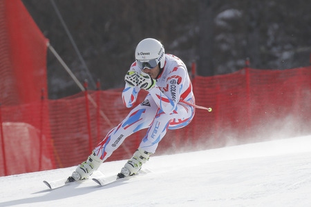 fis: Clarey Johan of FRA action during an AUDI FIS Ski World Cup 20152016 Jeongseon Mens Downhill exercise second day at Jeongseon Alpine Center in Gangwon, South Korea.