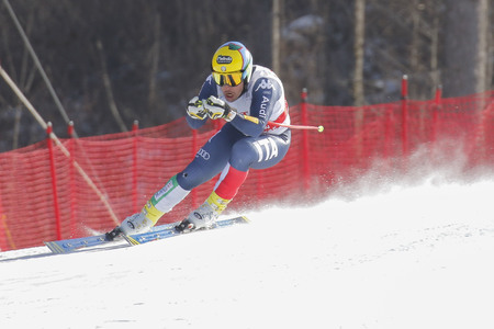 fis: De Aliprandini Luca of ITA action during an AUDI FIS Ski World Cup 20152016 Jeongseon Mens Downhill exercise second day at Jeongseon Alpine Center in Gangwon, South Korea.