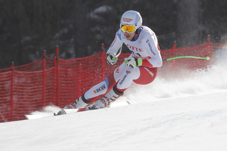 fis: Janka Carlo of SUI action during an AUDI FIS Ski World Cup 20152016 Jeongseon Mens Downhill exercise second day at Jeongseon Alpine Center in Gangwon, South Korea.