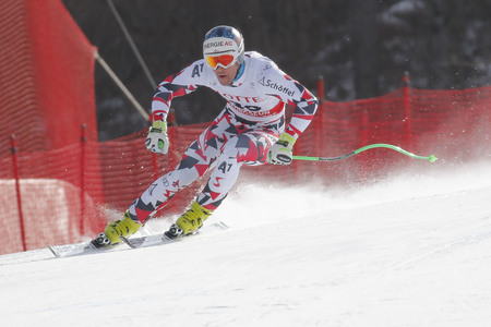 fis: Kriechmayr Vincent of AUT action during an AUDI FIS Ski World Cup 20152016 Jeongseon Mens Downhill exercise second day at Jeongseon Alpine Center in Gangwon, South Korea.