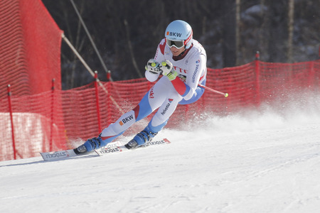 fis: Mini Nils of SUI action during an AUDI FIS Ski World Cup 20152016 Jeongseon Mens Downhill exercise second day at Jeongseon Alpine Center in Gangwon, South Korea. Editorial
