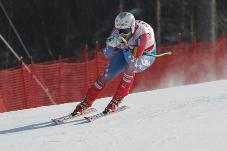 fis: Maple Wiley of USA action during an AUDI FIS Ski World Cup 20152016 Jeongseon Mens Downhill exercise second day at Jeongseon Alpine Center in Gangwon, South Korea. Editorial
