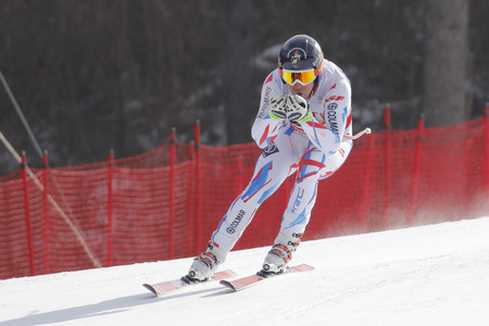 fis: Muzaton Maxence of FRA action during an AUDI FIS Ski World Cup 20152016 Jeongseon Mens Downhill exercise second day at Jeongseon Alpine Center in Gangwon, South Korea. Editorial