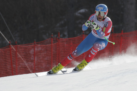 fis: Nyman Steven of USA action during an AUDI FIS Ski World Cup 20152016 Jeongseon Mens Downhill exercise second day at Jeongseon Alpine Center in Gangwon, South Korea.