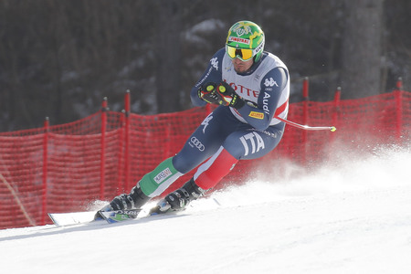 fis: Paris Dominik of ITA action during an AUDI FIS Ski World Cup 20152016 Jeongseon Mens Downhill exercise second day at Jeongseon Alpine Center in Gangwon, South Korea. Editorial