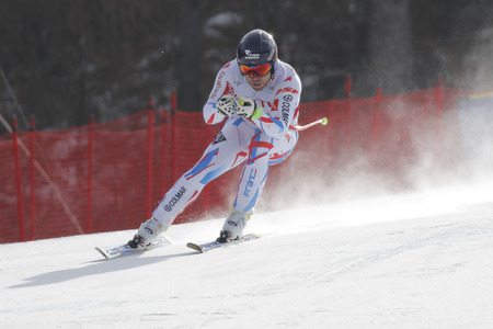fis: Poisson David of FRA action during an AUDI FIS Ski World Cup 20152016 Jeongseon Mens Downhill exercise second day at Jeongseon Alpine Center in Gangwon, South Korea.