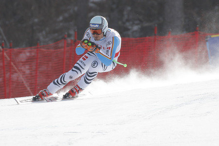 fis: Sander Andreas of GER action during an AUDI FIS Ski World Cup 20152016 Jeongseon Mens Downhill exercise second day at Jeongseon Alpine Center in Gangwon, South Korea.