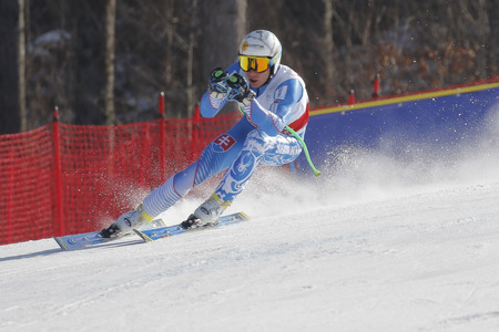 fis: Zampa Adam of SVK action during an AUDI FIS Ski World Cup 20152016 Jeongseon Mens Downhill exercise second day at Jeongseon Alpine Center in Gangwon, South Korea.