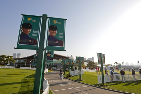 preperation: Presidents Cup all players potrait displayed on the course approach during the Presidents Cup Preperation First Day at Jack Nicklaus GC in Songdo.
