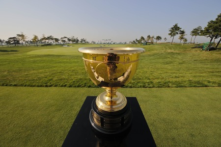 preperation: Cup trophy displayed on the green before group photo time during the Presidents Cup Preperation First Day at Jack Nicklaus GC in Songdo.