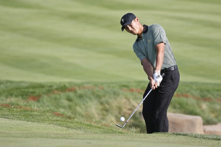 International Team Player Danny Lee action on the 15th hole during the PGA Presidents Cup round one 4some 5match openning in Jack Nicklaus GC, Incheon.