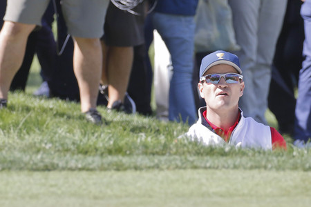 United States Team Player Zach Johnson action on the 6th bunker during the PGA Presidents Cup 4Ball Match at the Jack Nicklaus GC in Incheon, South Korea.