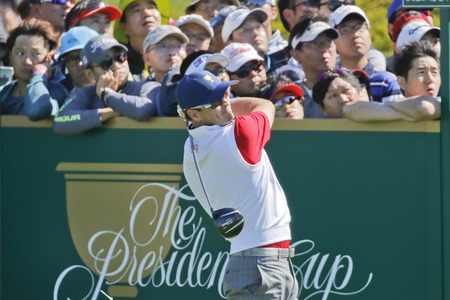 United States Team Player Zach Johnson action on the 7th tee during the PGA Presidents Cup 4Ball Match at the Jack Nicklaus GC in Incheon, South Korea.