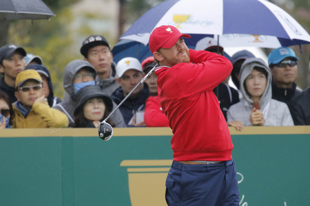 pga: United States Team Player JB Holmes action on the 4th tee during the PGA Tour President Cup Single Match at Jack Nicklaus GC in Incheon, South Korea.