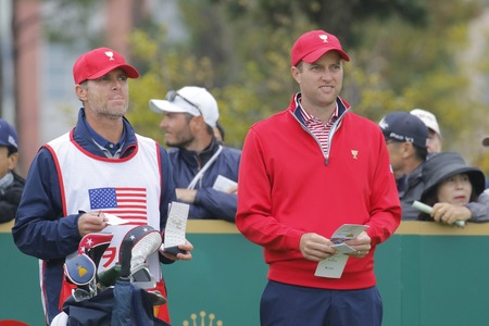 United States Team Player Chris Kirk action on the 4th tee during the PGA Tour President Cup Single Match at Jack Nicklaus GC in Incheon, South Korea.