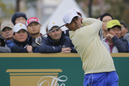 pga: International Team Player Anirban Lahiri action on the 4th tee during the PGA Tour President Cup Single Match at Jack Nicklaus GC in Incheon, South Korea.